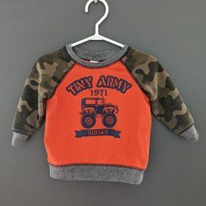 """Orange camo """"Tiny Army squad"""" crew neck sweatshirt"""